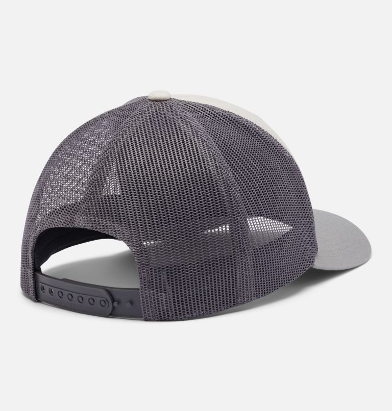 Columbia Mesh™ Snap Back Hat | 024 | O/S Unisex Columbia Mesh™ Snap Back Hat, Stone, City Grey, Moutain Puzzle Patch, back