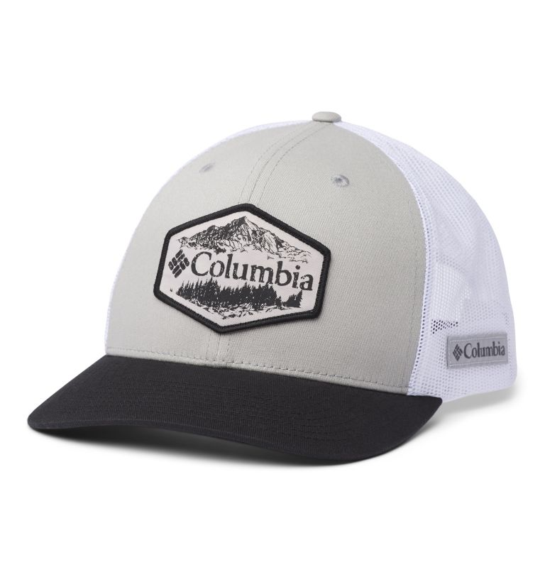 Columbia Mesh™ Snap Back Hat | 045 | O/S Unisex Columbia Mesh™ Snap Back Hat, Columbia Grey, Black, Outsider Patch, front