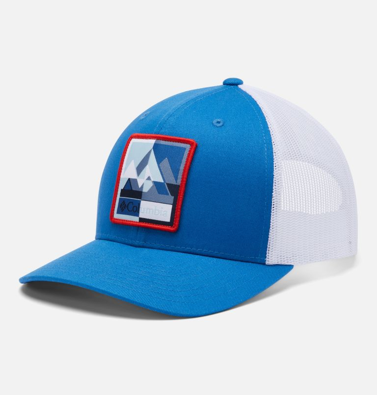 Columbia Mesh™ Snap Back Hat | 432 | O/S Unisex Columbia Mesh™ Snap Back Hat, Bright Indigo, Mountain Puzzle Patch, front