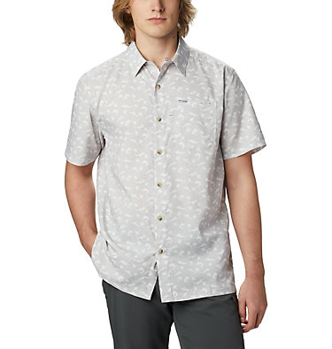 Men's PFG Super Slack Tide™ Camp Shirt Super Slack Tide™ Camp Shirt | 027 | XL, Cool Grey Watery Fish Print, front