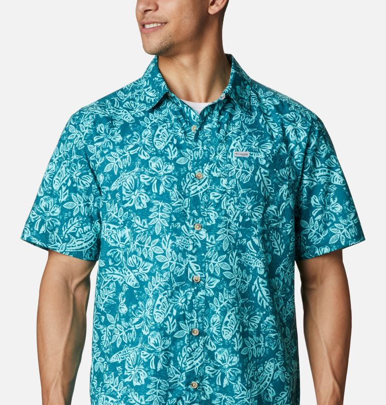 Super Slack Tide™ Camp Shirt | 340 | M Men's PFG Super Slack Tide™ Camp Shirt, Aegean Blue Flatslam Tropical Print, a2