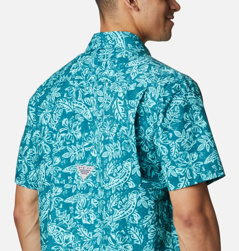 Super Slack Tide™ Camp Shirt | 340 | M Men's PFG Super Slack Tide™ Camp Shirt, Aegean Blue Flatslam Tropical Print, a3