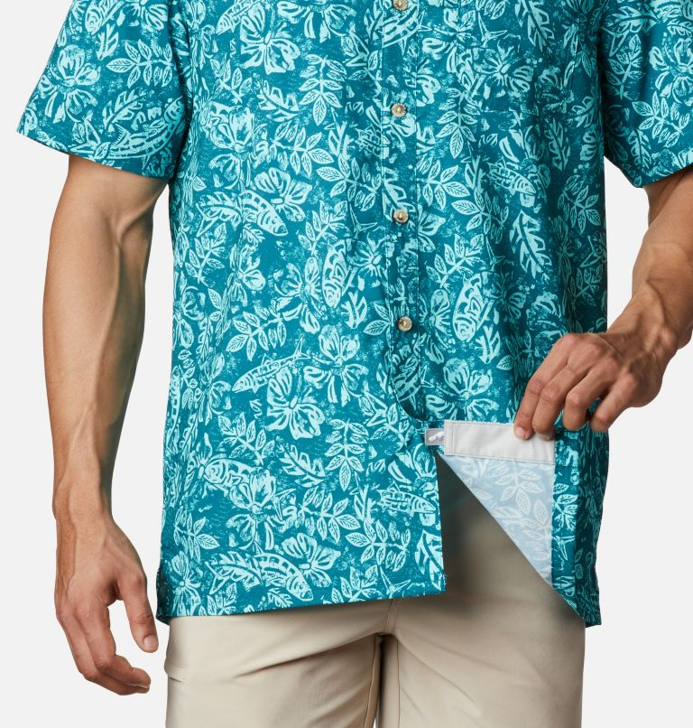 Super Slack Tide™ Camp Shirt | 340 | M Men's PFG Super Slack Tide™ Camp Shirt, Aegean Blue Flatslam Tropical Print, a4