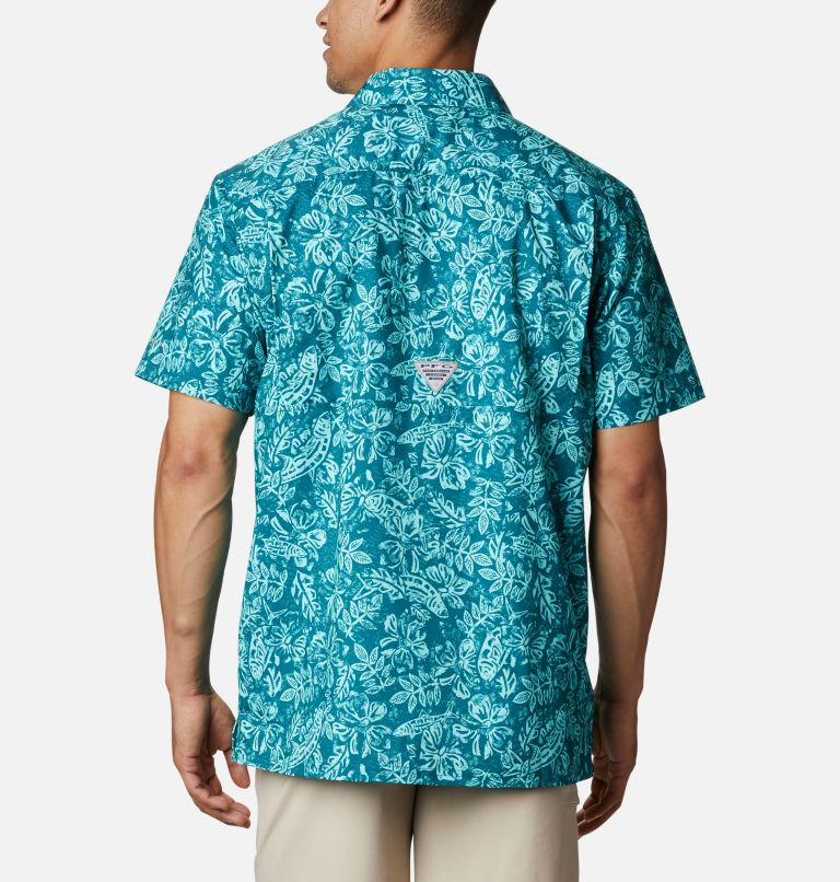Super Slack Tide™ Camp Shirt | 340 | M Men's PFG Super Slack Tide™ Camp Shirt, Aegean Blue Flatslam Tropical Print, back