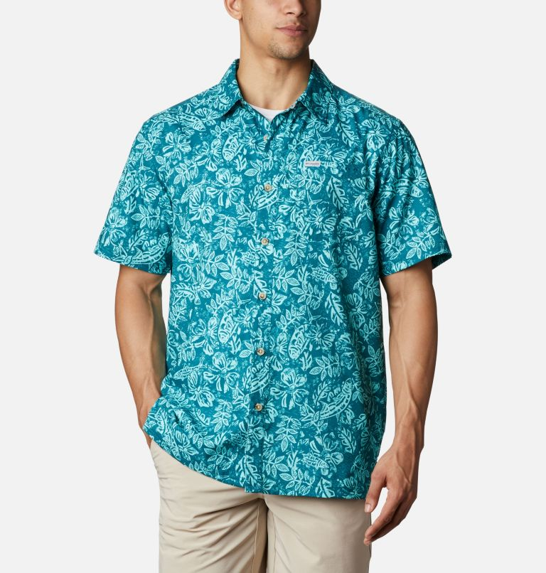 Super Slack Tide™ Camp Shirt | 340 | M Men's PFG Super Slack Tide™ Camp Shirt, Aegean Blue Flatslam Tropical Print, front