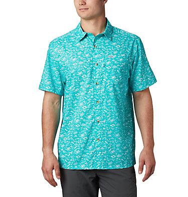 Men's PFG Super Slack Tide™ Camp Shirt Super Slack Tide™ Camp Shirt | 027 | XL, Bright Aqua Gamefish Print, front