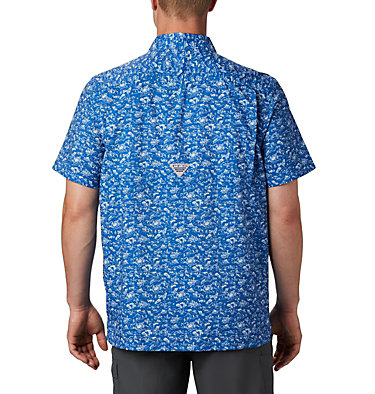Men's PFG Super Slack Tide™ Camp Shirt Super Slack Tide™ Camp Shirt | 027 | XL, Vivid Blue Gamefish Print, back