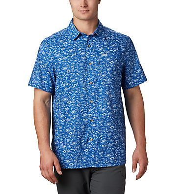 Men's PFG Super Slack Tide™ Camp Shirt Super Slack Tide™ Camp Shirt | 027 | XL, Vivid Blue Gamefish Print, front