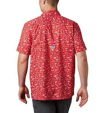Men's PFG Super Slack Tide™ Camp Shirt Super Slack Tide™ Camp Shirt | 027 | XL, Red Spark Gamefish Print, back