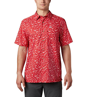 Men's PFG Super Slack Tide™ Camp Shirt Super Slack Tide™ Camp Shirt | 027 | XL, Red Spark Gamefish Print, front