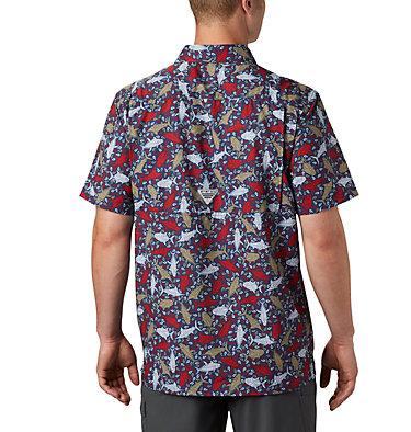 Men's PFG Super Slack Tide™ Camp Shirt – Big Super Slack Tide™ Camp Shirt | 010 | 3X, Carbon Tribal Fish Print, back