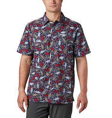 Men's PFG Super Slack Tide™ Camp Shirt – Big Super Slack Tide™ Camp Shirt | 010 | 3X, Carbon Tribal Fish Print, front