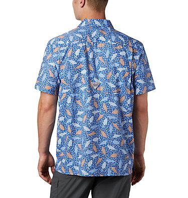 Men's PFG Super Slack Tide™ Camp Shirt – Big Super Slack Tide™ Camp Shirt | 010 | 3X, Vivid Blue Tribal Fish Print, back
