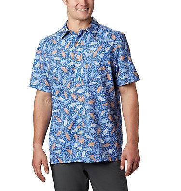 Men's PFG Super Slack Tide™ Camp Shirt – Big Super Slack Tide™ Camp Shirt | 010 | 3X, Vivid Blue Tribal Fish Print, front