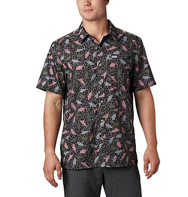 Men's PFG Super Slack Tide™ Camp Shirt – Tall Super Slack Tide™ Camp Shirt | 492 | LT, Black Tribal Fish Print, front