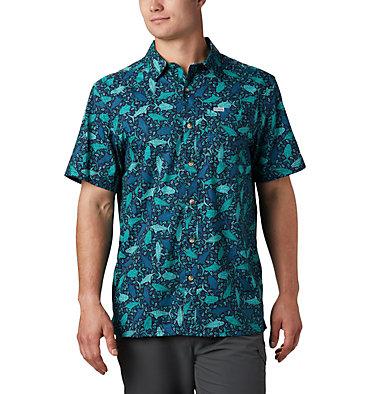 Men's PFG Super Slack Tide™ Camp Shirt – Tall Super Slack Tide™ Camp Shirt | 492 | LT, Collegiate Navy Tribal Fish Print, front