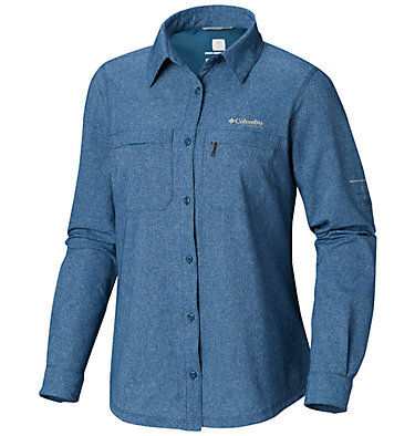 Irico™ langärmlige Hemdbluse Irico™ Long Sleeve Shirt | 627 | S, Petrol Blue Heather, front
