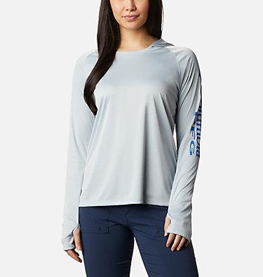 Women's PFG Tidal Tee™ Hoodie Tidal Tee™ Hoodie   463   L, Cirrus Grey, Stormy Blue Logo, front