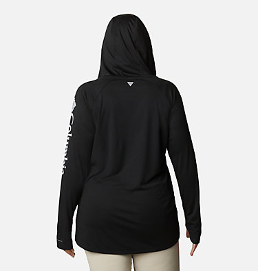 Women's PFG Tidal Tee™ Hoodie - Plus Size Tidal Tee™ Hoodie | 356 | 1X, Black, Cirrus Grey Logo, back