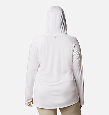 Women's PFG Tidal Tee™ Hoodie - Plus Size Tidal Tee™ Hoodie | 356 | 1X, White, Cirrus Grey Logo, back