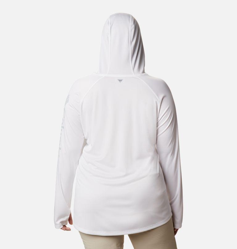 Tidal Tee™ Hoodie   102   2X Women's PFG Tidal Tee™ Hoodie - Plus Size, White, Cirrus Grey Logo, back
