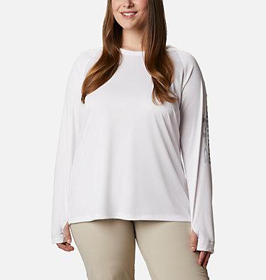 Women's PFG Tidal Tee™ Hoodie - Plus Size Tidal Tee™ Hoodie | 356 | 1X, White, Cirrus Grey Logo, front