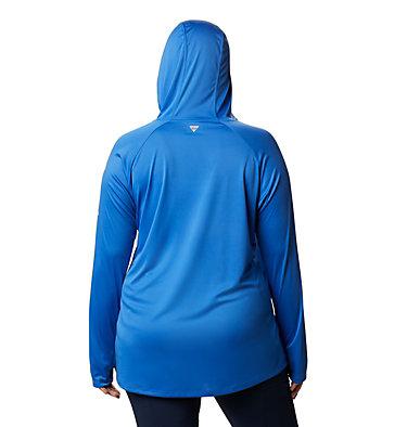 Women's PFG Tidal Tee™ Hoodie - Plus Size Tidal Tee™ Hoodie | 356 | 1X, Stormy Blue, Light Coral Logo, back