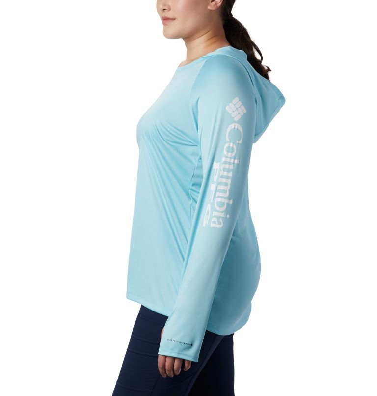 Tidal Tee™ Hoodie | 459 | 2X Women's PFG Tidal Tee™ Hoodie - Plus Size, Clear Blue, White Logo, a1