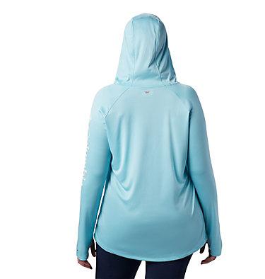 Women's PFG Tidal Tee™ Hoodie - Plus Size Tidal Tee™ Hoodie   356   1X, Clear Blue, White Logo, back
