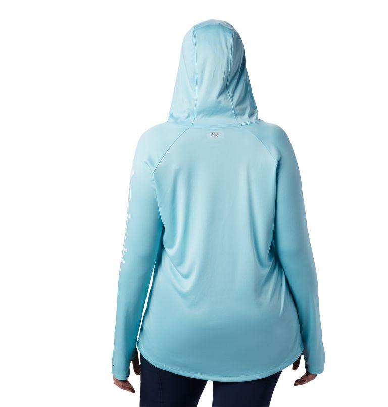 Tidal Tee™ Hoodie | 459 | 2X Women's PFG Tidal Tee™ Hoodie - Plus Size, Clear Blue, White Logo, back