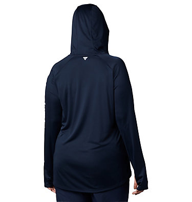 Women's PFG Tidal Tee™ Hoodie - Plus Size Tidal Tee™ Hoodie | 356 | 1X, Collegiate Navy, White Logo, back