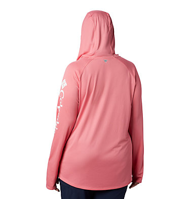 Women's PFG Tidal Tee™ Hoodie - Plus Size Tidal Tee™ Hoodie   356   1X, Lollipop, White Logo, back