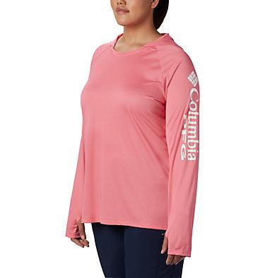 Women's PFG Tidal Tee™ Hoodie - Plus Size Tidal Tee™ Hoodie   356   1X, Lollipop, White Logo, front