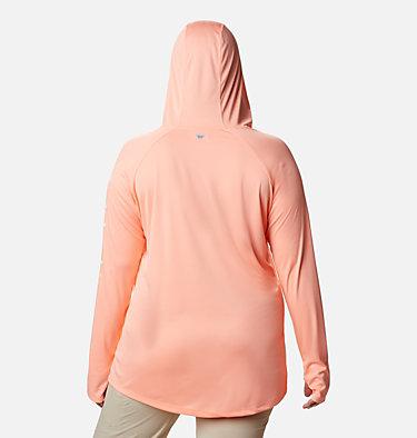 Women's PFG Tidal Tee™ Hoodie - Plus Size Tidal Tee™ Hoodie | 356 | 1X, Tiki Pink, White Logo, back