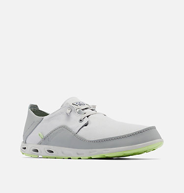 Men's Bahama™ Vent Relaxed PFG Shoe - Wide BAHAMA™ VENT PFG LACE RELAXED WIDE | 471 | 10, Grey Ice, Jade Lime, 3/4 front