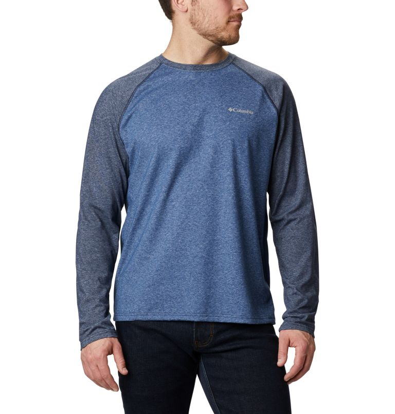 Thistletown Park™ Raglan Tee | 453 | S Men's Thistletown Park™ Raglan Shirt, Night Tide Heather, Collegiate Navy Hthr, front