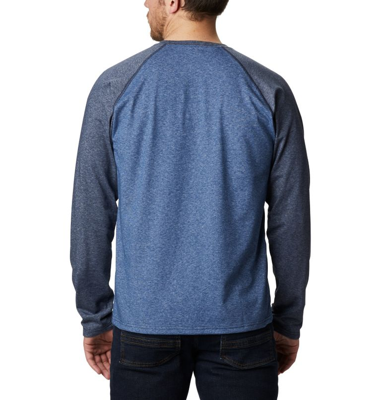 Thistletown Park™ Raglan Tee   453   2X Men's Thistletown Park™ Raglan Shirt - Big, Night Tide Heather, Collegiate Navy Hthr, back