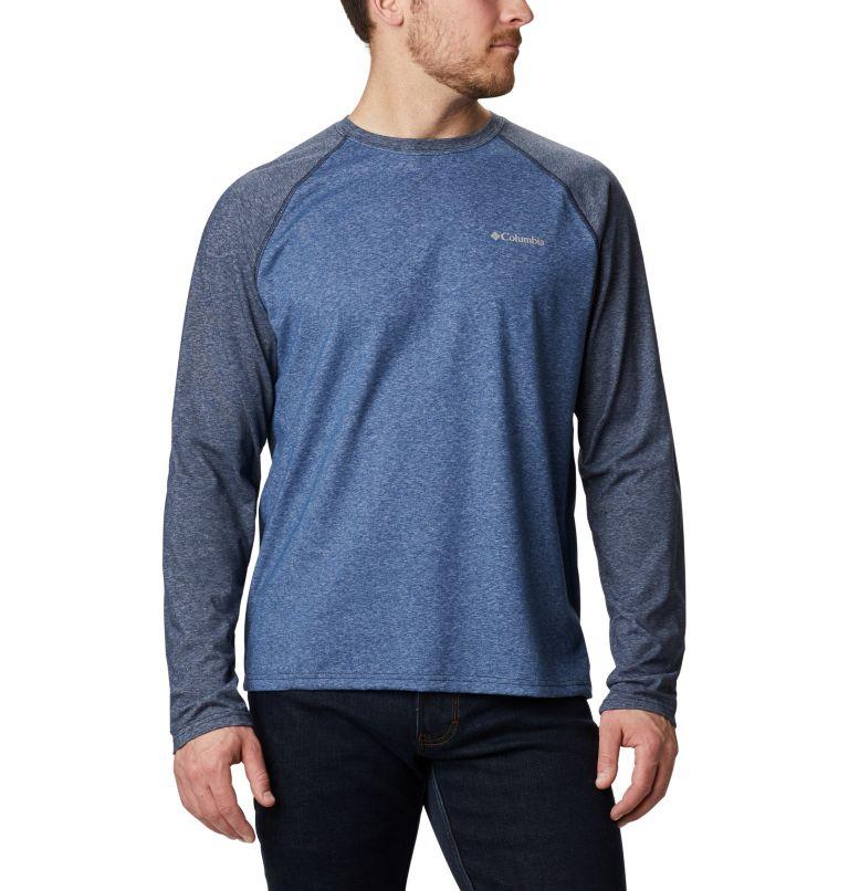 Thistletown Park™ Raglan Tee   453   2X Men's Thistletown Park™ Raglan Shirt - Big, Night Tide Heather, Collegiate Navy Hthr, front