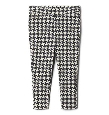 Girls' Toddler Glacial™ Printed Fleece Leggings Glacial™ Printed Legging | 613 | 2T, Chalk Houndstooth (B), Chalk, front