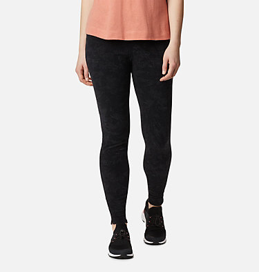 Women's Glacial™ Fleece Printed Legging Pant Glacial™ Fleece Printed Legging | 014 | L, Black Dotty Floral, front