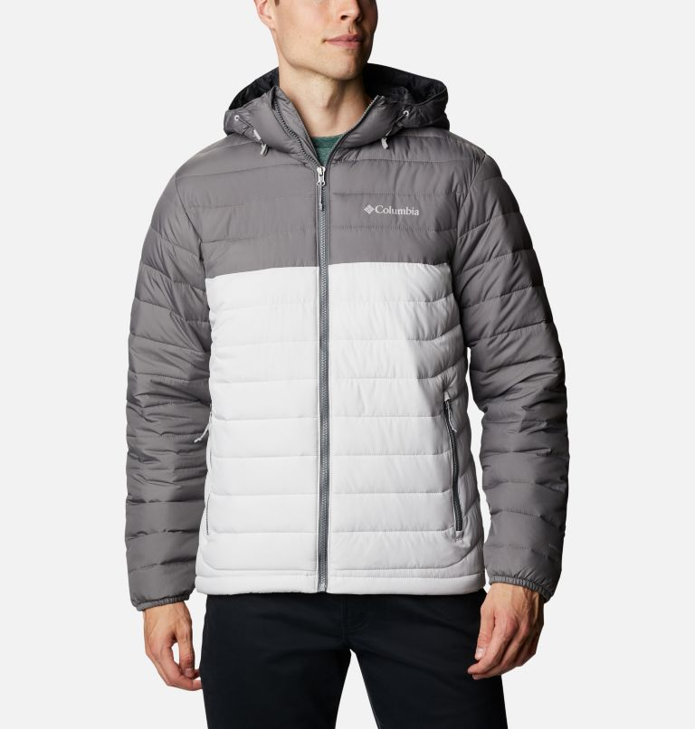 Powder Lite™ Hooded Jacket | 043 | L Men's Powder Lite™ Hooded Insulated Jacket, Nimbus Grey, City Grey, front