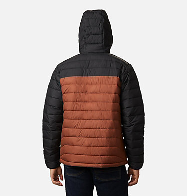 Men's Powder Lite™ Hooded Insulated Jacket Powder Lite™ Hooded Jacket | 432 | S, Dark Amber, Black, back