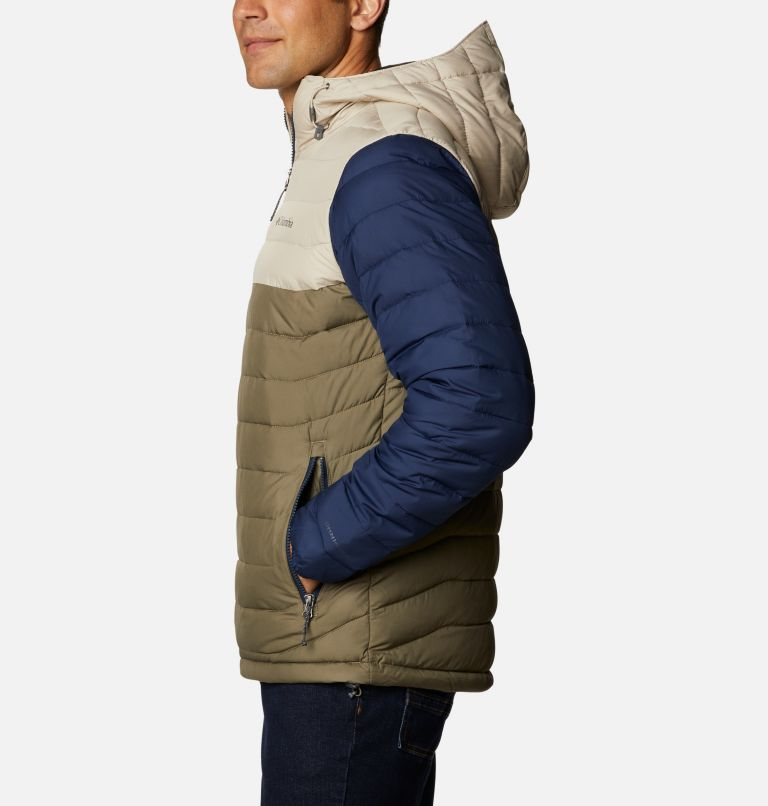 Powder Lite™ Hooded Jacket | 397 | XS Men's Powder Lite™ Hooded Insulated Jacket, Stone Green, Fossil, Collegiate Navy, a1