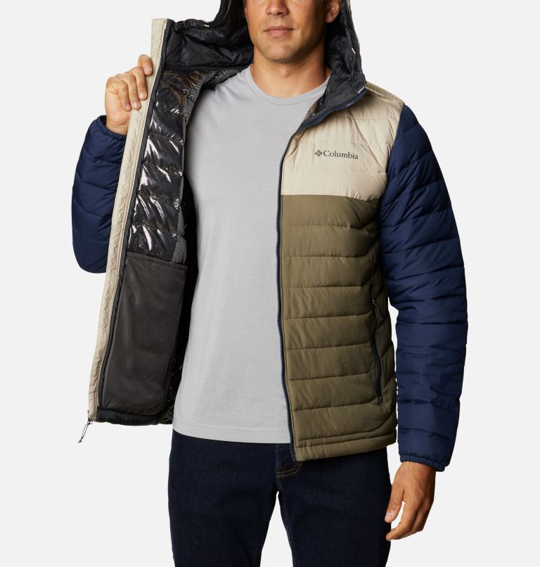 Powder Lite™ Hooded Jacket | 397 | XS Men's Powder Lite™ Hooded Insulated Jacket, Stone Green, Fossil, Collegiate Navy, a3