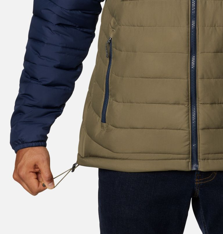 Powder Lite™ Hooded Jacket | 397 | XS Men's Powder Lite™ Hooded Insulated Jacket, Stone Green, Fossil, Collegiate Navy, a4
