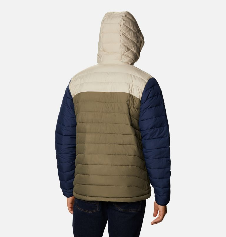 Powder Lite™ Hooded Jacket | 397 | XS Men's Powder Lite™ Hooded Insulated Jacket, Stone Green, Fossil, Collegiate Navy, back