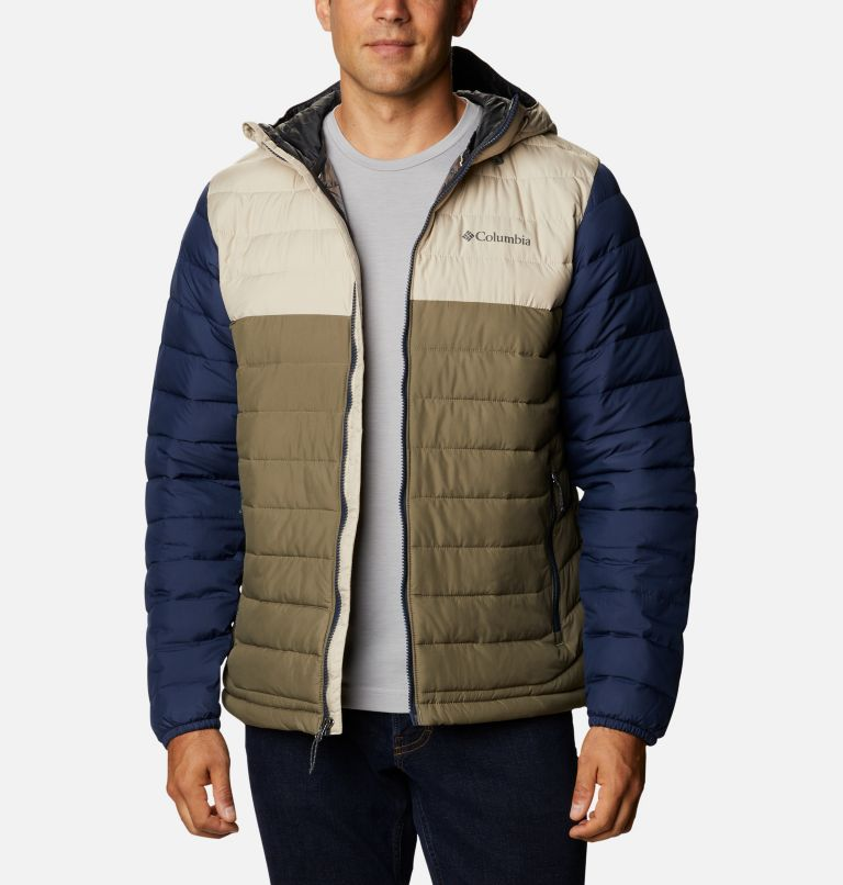 Powder Lite™ Hooded Jacket | 397 | XS Men's Powder Lite™ Hooded Insulated Jacket, Stone Green, Fossil, Collegiate Navy, front