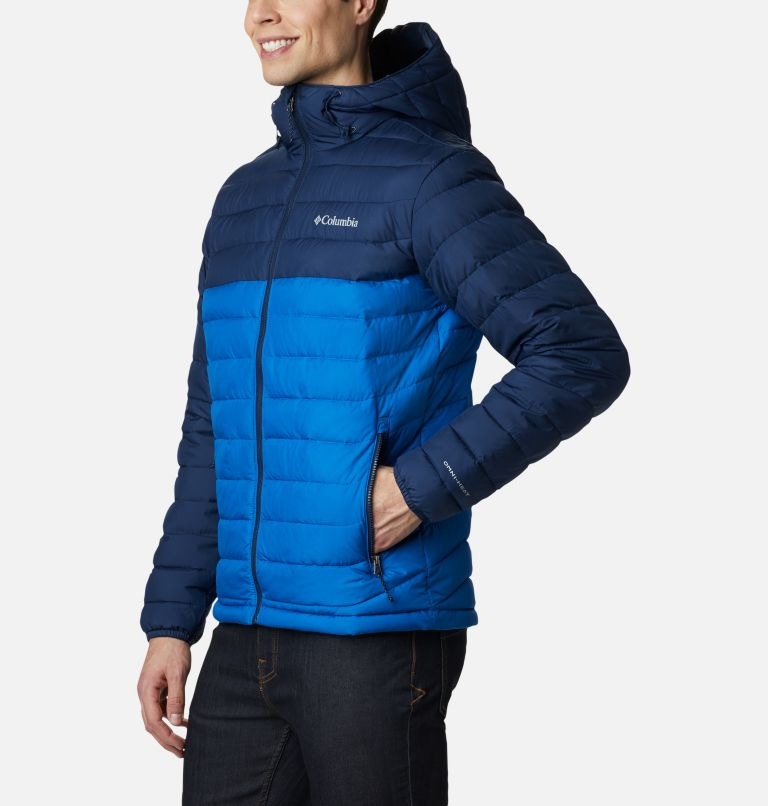 Powder Lite™ Hooded Jacket | 432 | S Men's Powder Lite™ Hooded Insulated Jacket, Bright Indigo, Collegiate Navy, a1