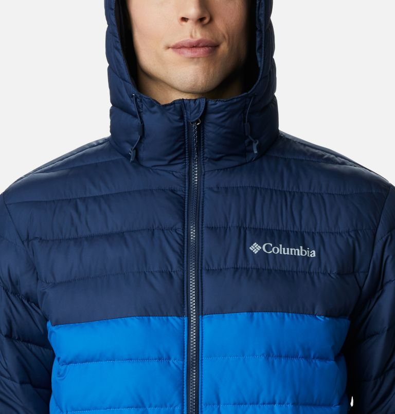 Powder Lite™ Hooded Jacket | 432 | S Men's Powder Lite™ Hooded Insulated Jacket, Bright Indigo, Collegiate Navy, a2