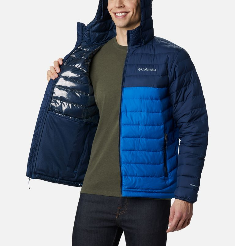 Powder Lite™ Hooded Jacket | 432 | S Men's Powder Lite™ Hooded Insulated Jacket, Bright Indigo, Collegiate Navy, a3